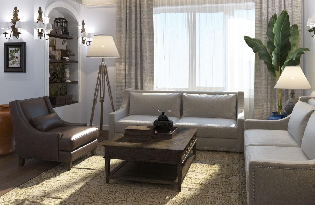 интерьер гостиной в классике  от Design Next