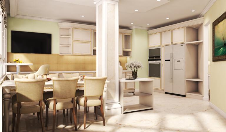 кухня-гостиная в классике