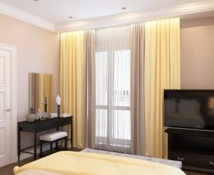 спальня с желтыми шторами