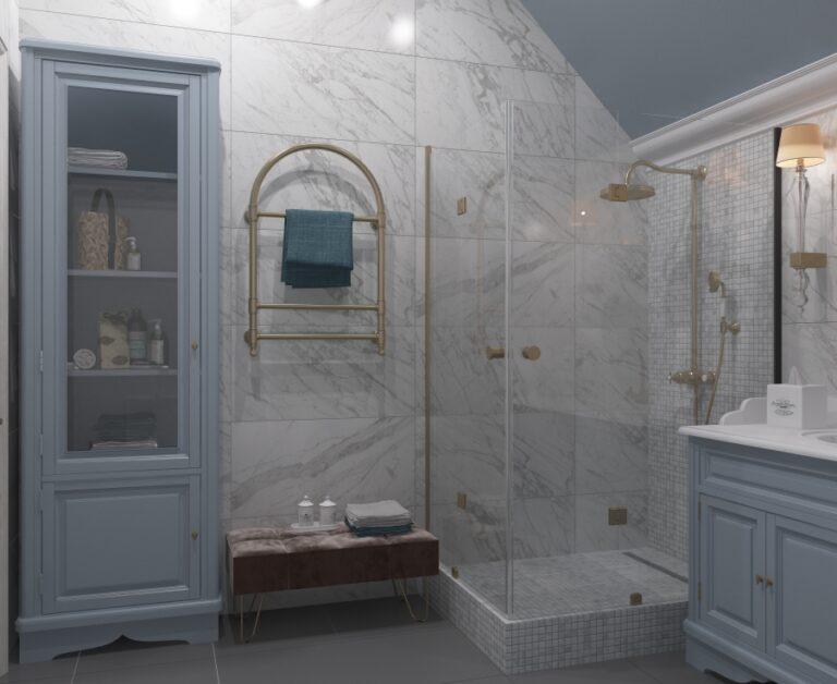интерьер ванной в голубом цвете