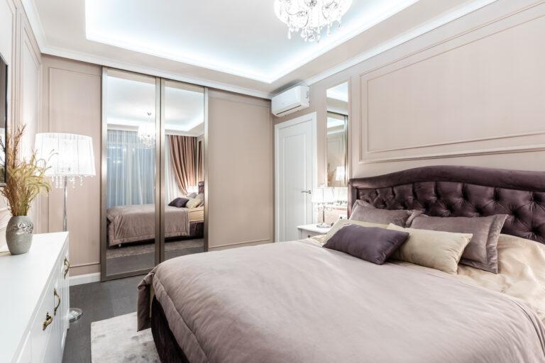 Розовая спальня с гардеробной