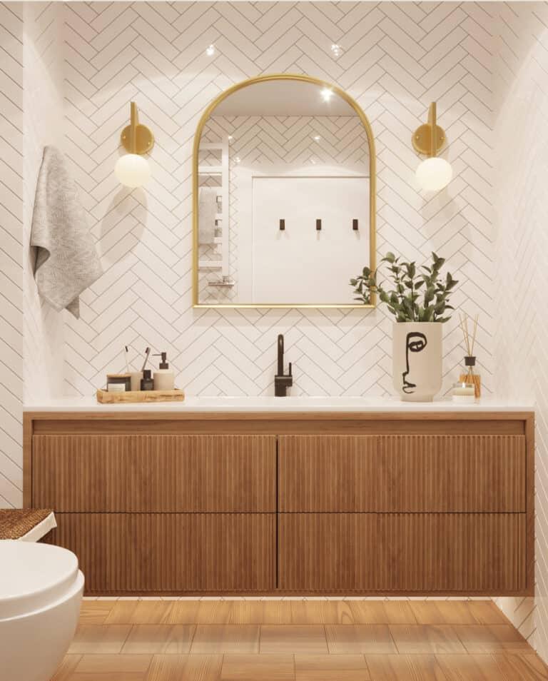 Ванная комната дизайн с белой плиткой