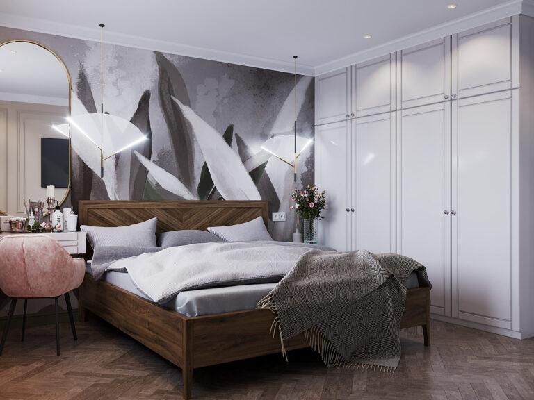 дизайн спальни с рисунком на стене