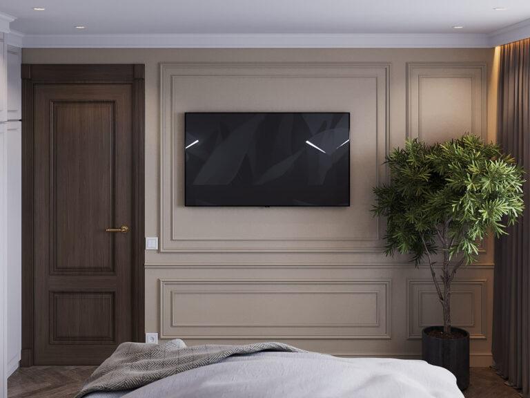 спальня с темными дверями