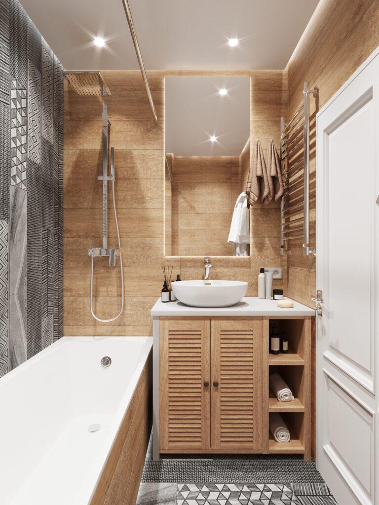 вання маленькая с плиткой под дерево